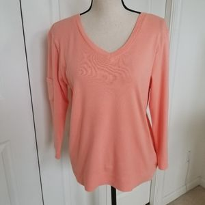 Fresh Produce Peach Colored V-Neck Cotton Top
